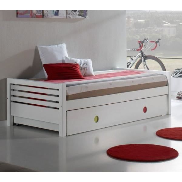 lit gigogne marina 90 x 190 cm blanc achat vente lit. Black Bedroom Furniture Sets. Home Design Ideas
