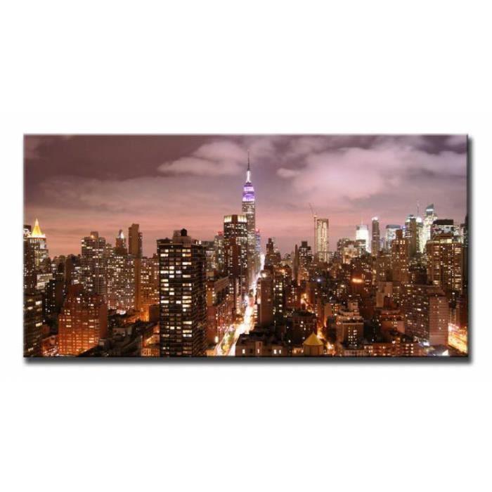 tableau toile cadre en bois dagprints villes empire state building 120x60 cm achat vente. Black Bedroom Furniture Sets. Home Design Ideas