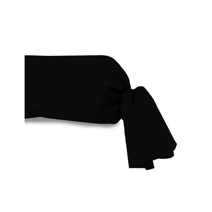 taie de traversin uni 85x185 cm atmo noir achat vente. Black Bedroom Furniture Sets. Home Design Ideas