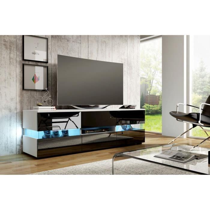 San diego meuble tv contemporain blanc et noir brillant for Meuble tv noir brillant