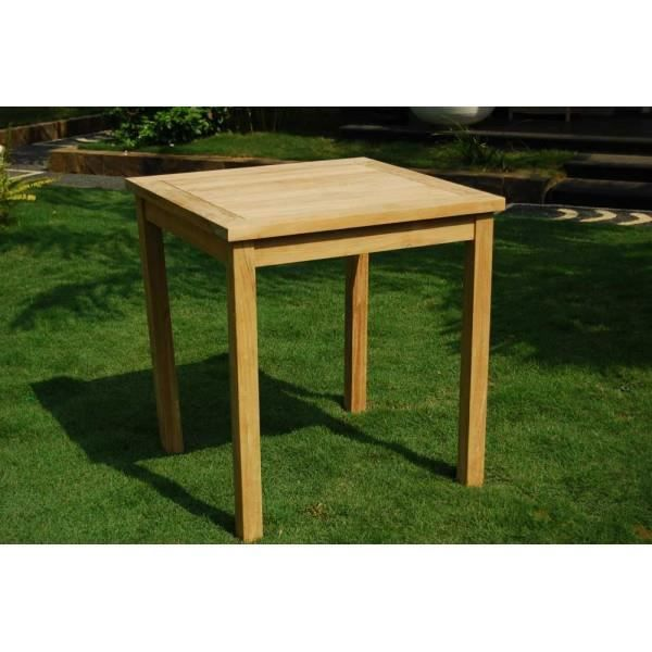 Table de jardin 70x70 cm en teck brut achat vente for Table exterieur 70x70