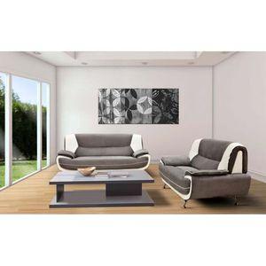 CANAPÉ - SOFA - DIVAN Canapé design 3+2 bregga microfibre gris blanc
