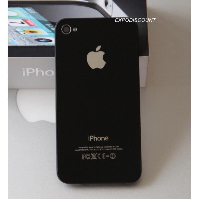 vitre arriere avec logo pour iphone 4s noir achat ecran de t l phone pas cher avis et. Black Bedroom Furniture Sets. Home Design Ideas
