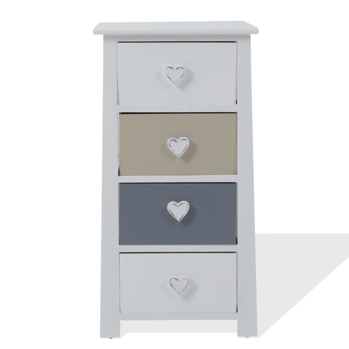 chiffonnier chevet 4 tiroirs romantica bois blanc gris beige shabby bain hall achat vente. Black Bedroom Furniture Sets. Home Design Ideas