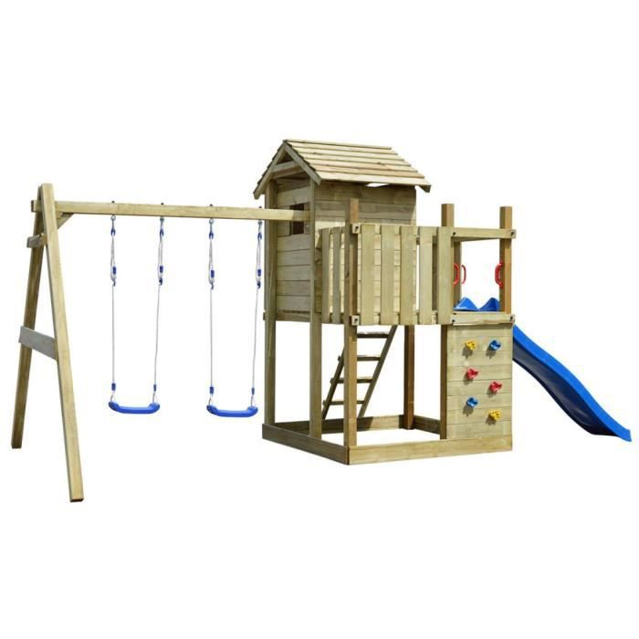 maisonnettes et tentes de jeu aire de jeux en bois avec echelle toboggan balancoires. Black Bedroom Furniture Sets. Home Design Ideas