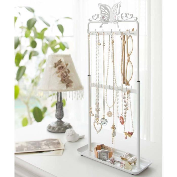 grand porte bijoux papillons double face blanc achat vente boite a bijoux grand porte. Black Bedroom Furniture Sets. Home Design Ideas