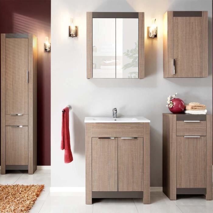 Meuble de salle de bain design hobby atylia couleur noyer - Dimensions salle de bain ...