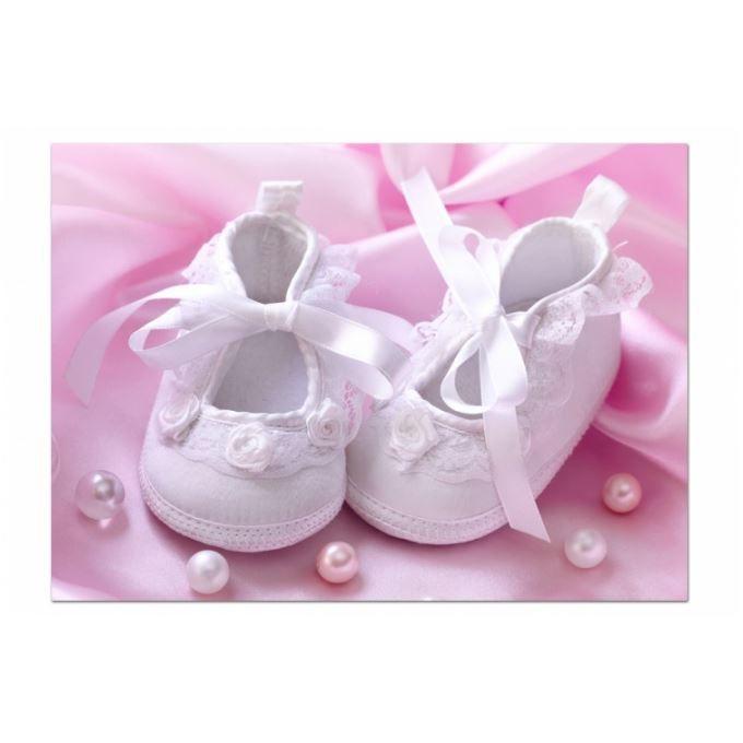 tableau enfant petits chaussons blancs 80x55 cm achat vente tableau toile toile coton. Black Bedroom Furniture Sets. Home Design Ideas