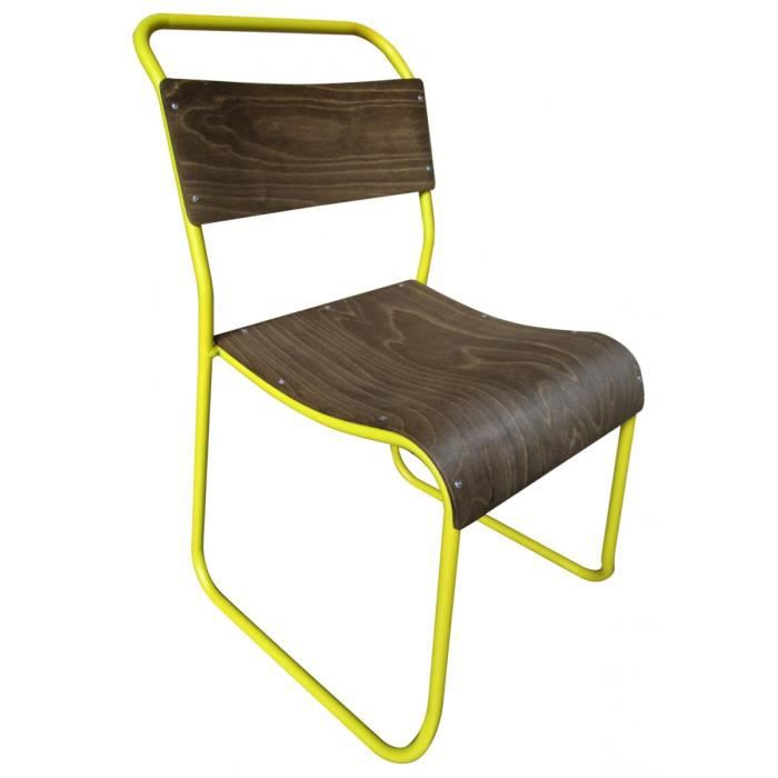 Chaise vintage bois m tal avior couleur jaune achat - Chaise metal couleur ...