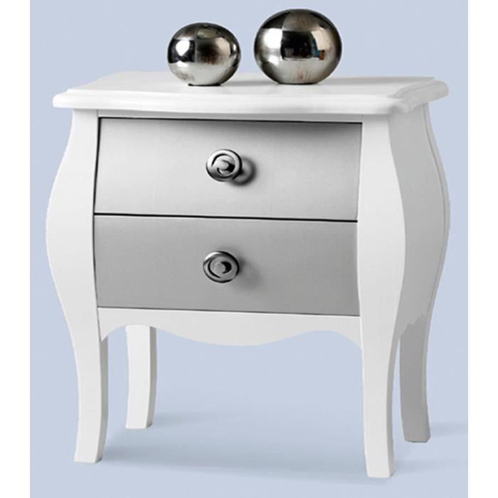 Table de chevet avec 2 tiroirs basse en mdf 59 x 49 x 33 - Table de chevet basse ...