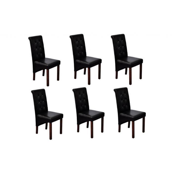 chaise en cuir artificiel antique noir 6 pcs achat. Black Bedroom Furniture Sets. Home Design Ideas