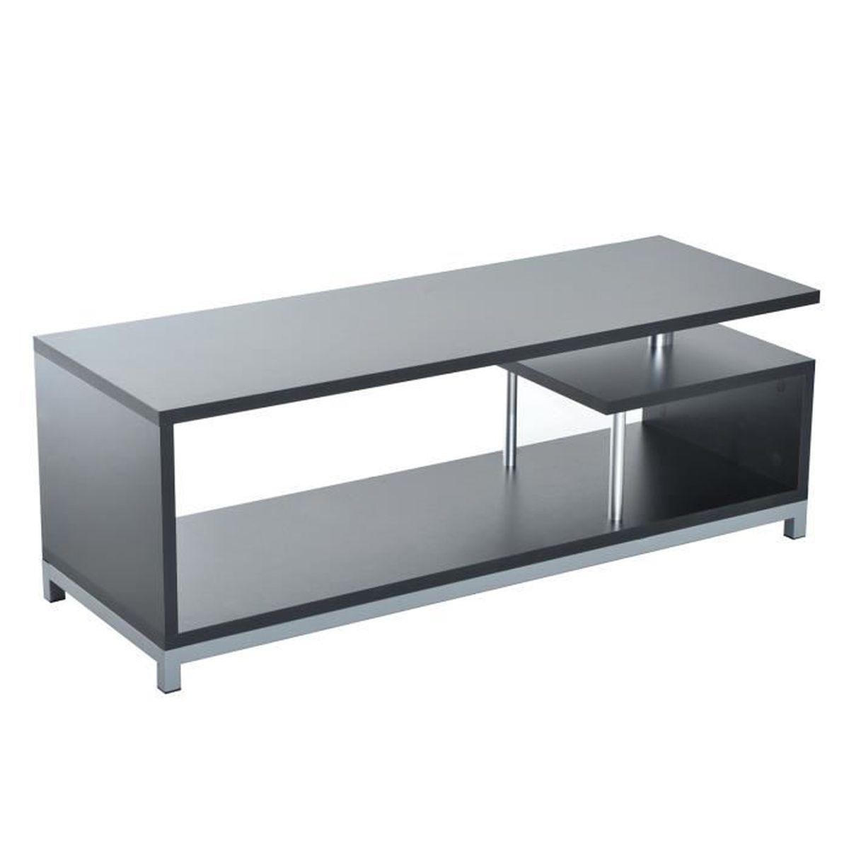 Meuble tv table moderne haute brillance avec pieds 114l x for Meuble table