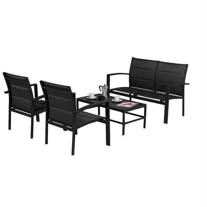 salon de jardin sofa 4 places noir achat vente salon. Black Bedroom Furniture Sets. Home Design Ideas
