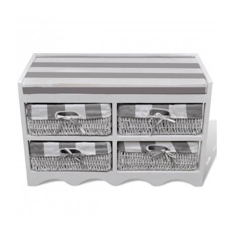 banc de rangement avec 4 paniers coussin inclus achat vente banc bois cdiscount. Black Bedroom Furniture Sets. Home Design Ideas