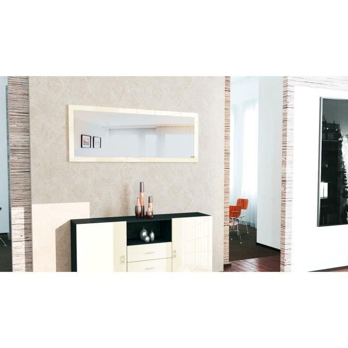 Miroir mural cr me laqu 139 cm achat vente miroir for Achat miroir mural