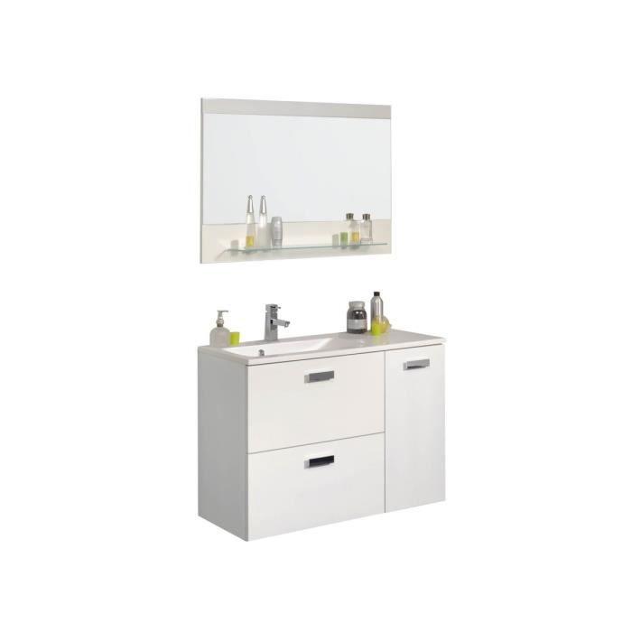 Happy blanc meuble vasque miroir 90cm achat for Miroir largeur 90 cm