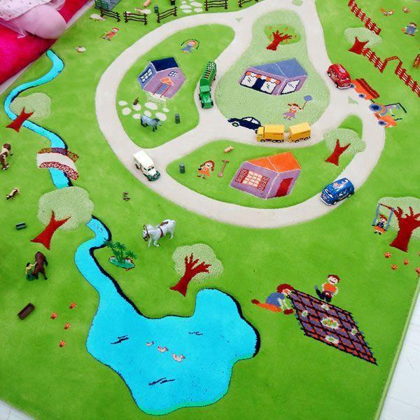 tapis 3d ferme turquoise 100x150cm achat vente tapis de jeu cdiscount. Black Bedroom Furniture Sets. Home Design Ideas