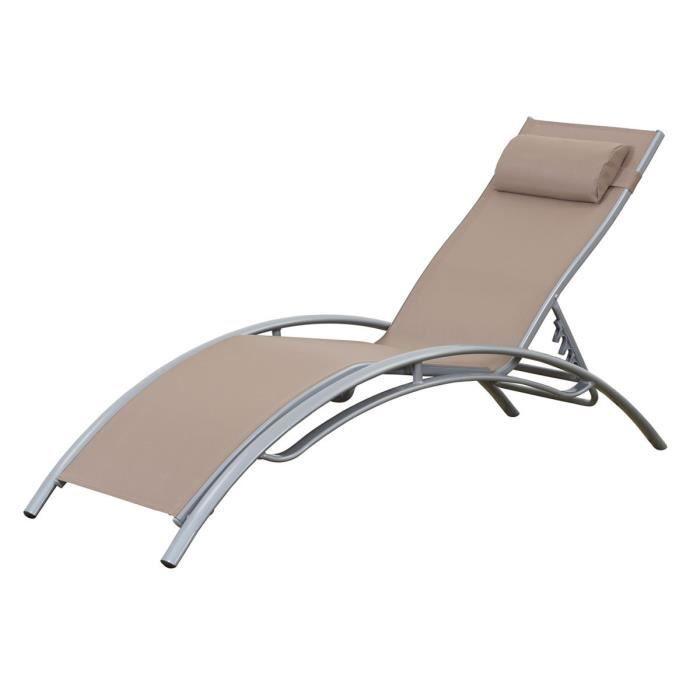 Bain de soleil en aluminium beauty phoenix taupe achat vente chaise l - Bain de soleil en aluminium ...