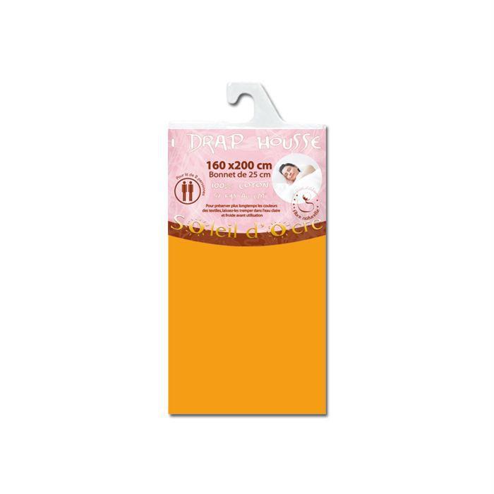 Drap housse coton uni orange soleil d 39 ocre achat vente for Drap housse 80x190