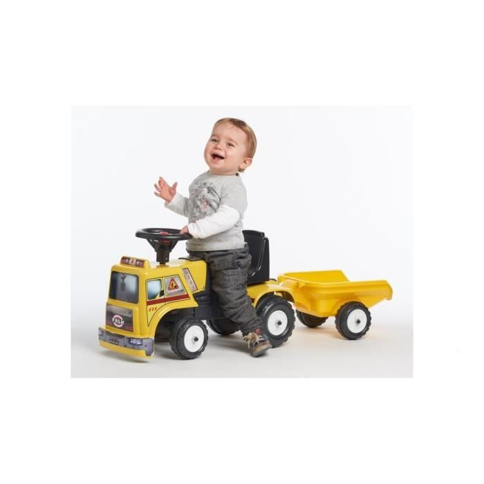 falk baby porteur camion chantier jaune remorque achat. Black Bedroom Furniture Sets. Home Design Ideas