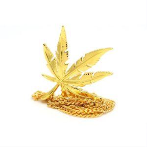SAUTOIR ET COLLIER Hip Hop Mens 18k plaqué or Charm Pot Feuille Weed