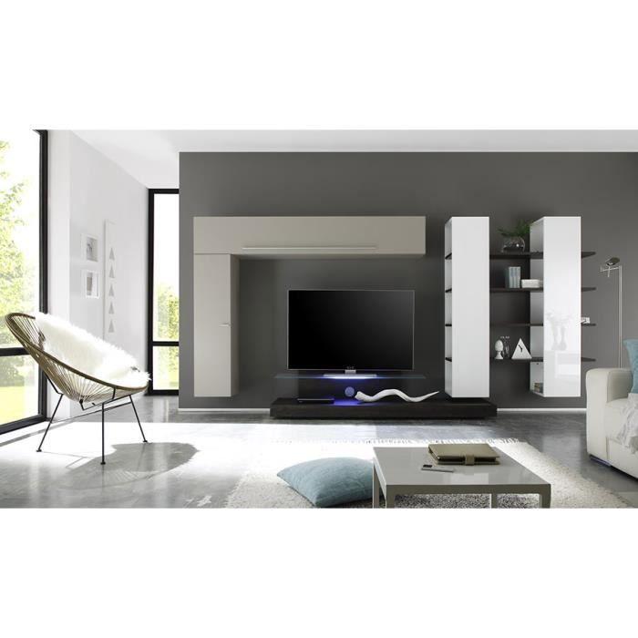 Ensemble meuble tv blanc taupe et weng avec clairage led - Meuble tv wenge et verre ...