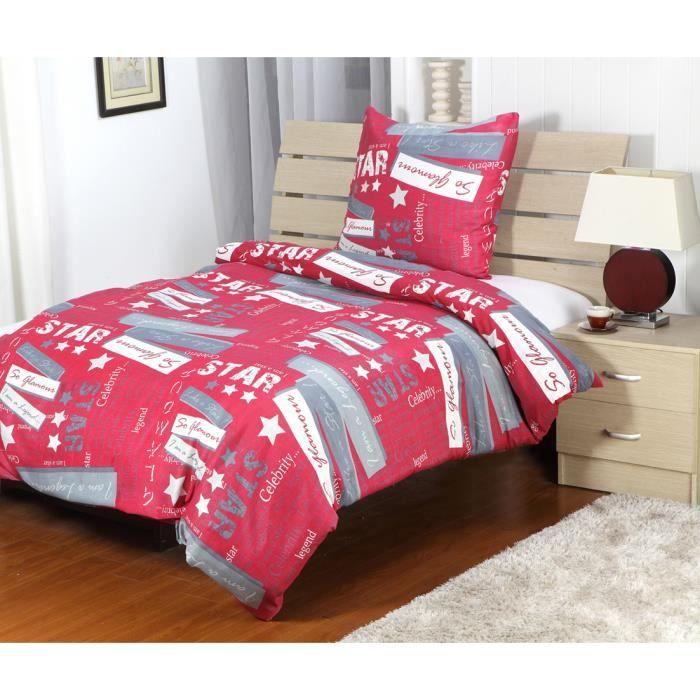 Housse de couette eden 2 pcs 140x200cm rouge gris achat - Housse de couette grise et rouge ...