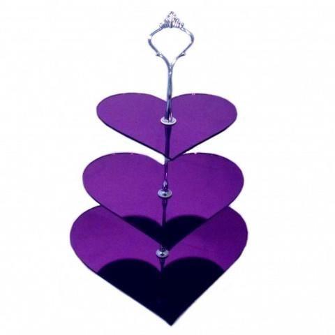 3 niveaux stand g teau coeur pourpre en miroir acrylique for Miroir acrylique incassable