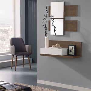 Console avec miroir meuble achat vente console avec for Meuble entree suspendu