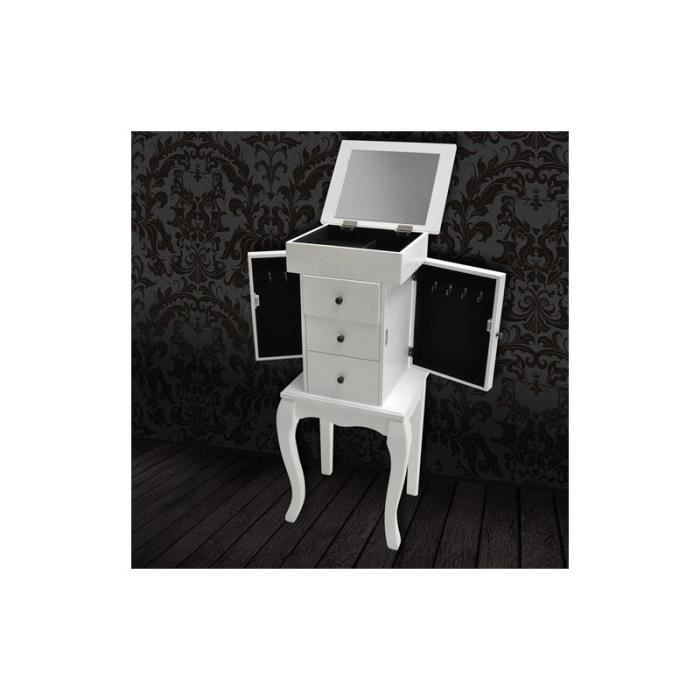 Commode coiffeuse coffre bijoux blanc achat vente for Coiffeuse meuble blanc