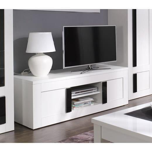 Meuble tv design blanc et noir laqu alpens id al pour for Meuble salon blanc et noir