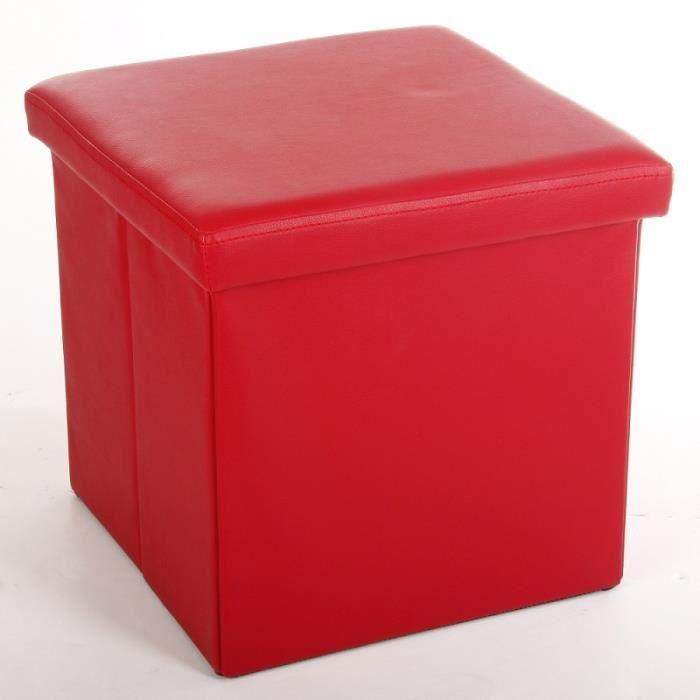 pouf pli pvc rouge 38x38 cm achat vente pouf poire pvc mdf polyur thane cdiscount. Black Bedroom Furniture Sets. Home Design Ideas