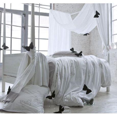 housse de couette 240x220 hypnose blanc et taupe papillons. Black Bedroom Furniture Sets. Home Design Ideas