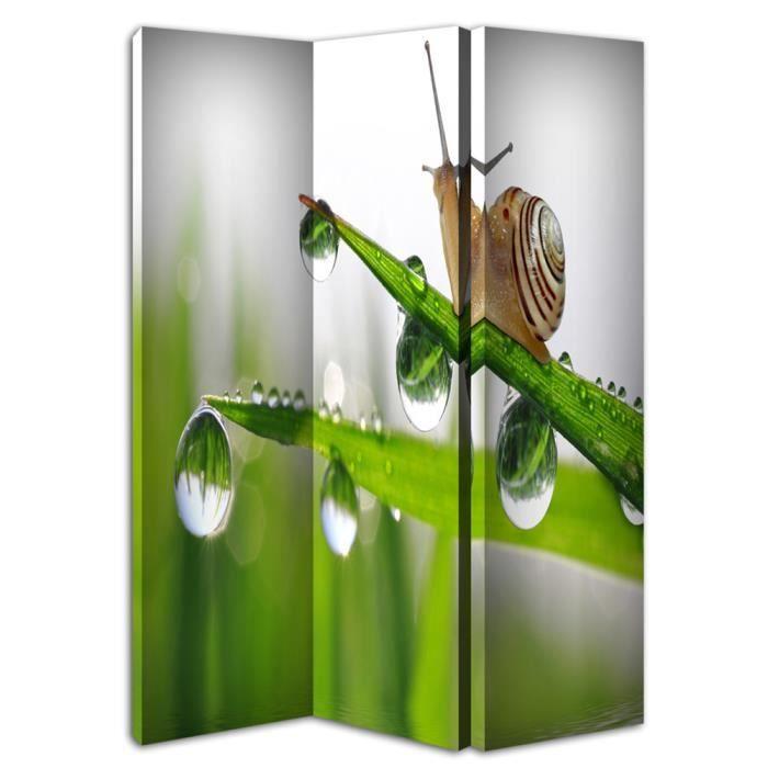 Paravent escargot 120 x 150 cm 3 volets recto une face for Decoration escargot exterieur