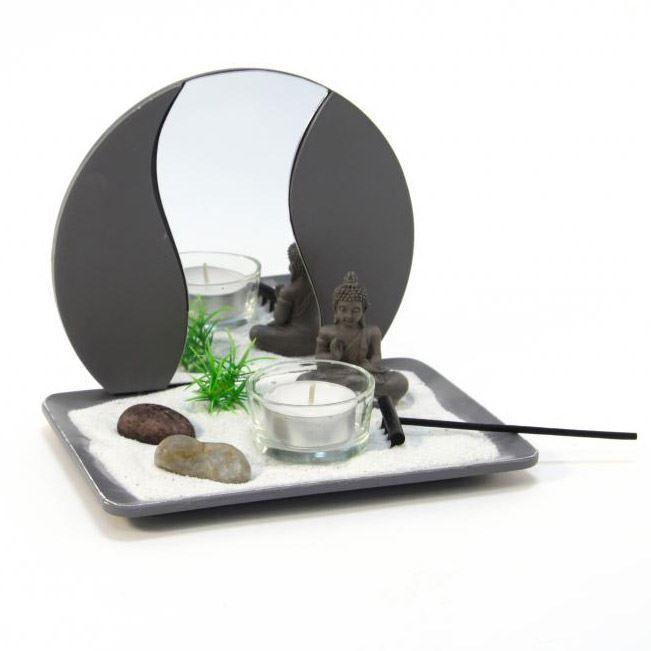Jardin zen japonais bouddha avec miroir gris achat vente jardin japonais zen r sine for Decoration jardin bouddha