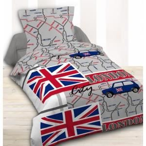 housse de couette et taie d 39 oreiller london city achat vente parure d. Black Bedroom Furniture Sets. Home Design Ideas