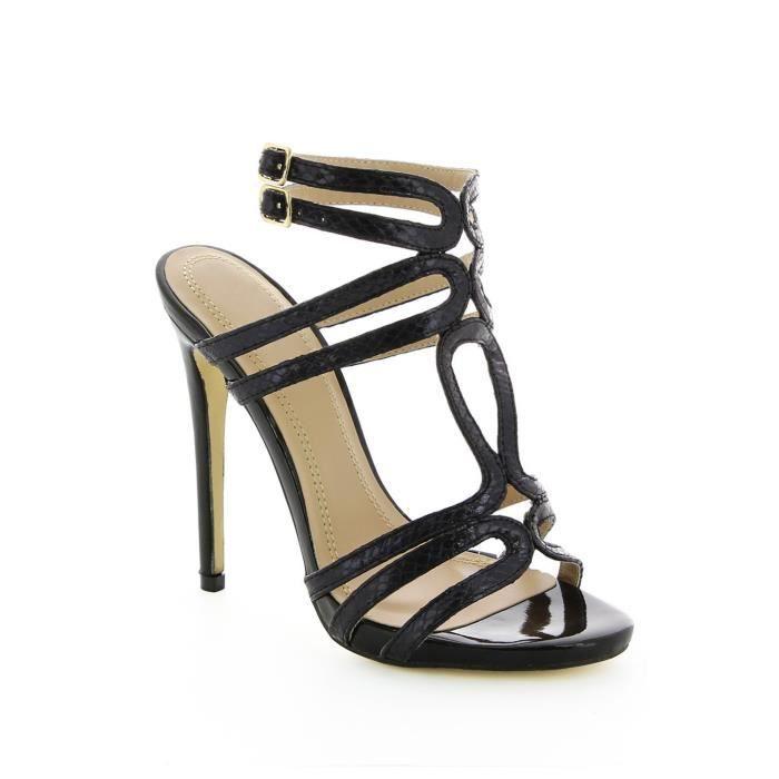 sandales talon vernies noir achat vente sandales talon vernies noir pas cher. Black Bedroom Furniture Sets. Home Design Ideas