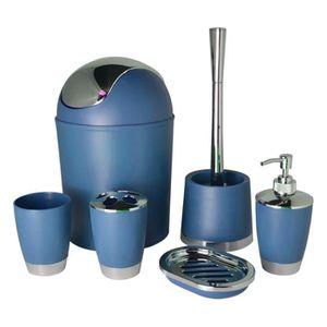 Set accessoires salle de bain bleu achat vente set for Accessoire salle de bain pas cher