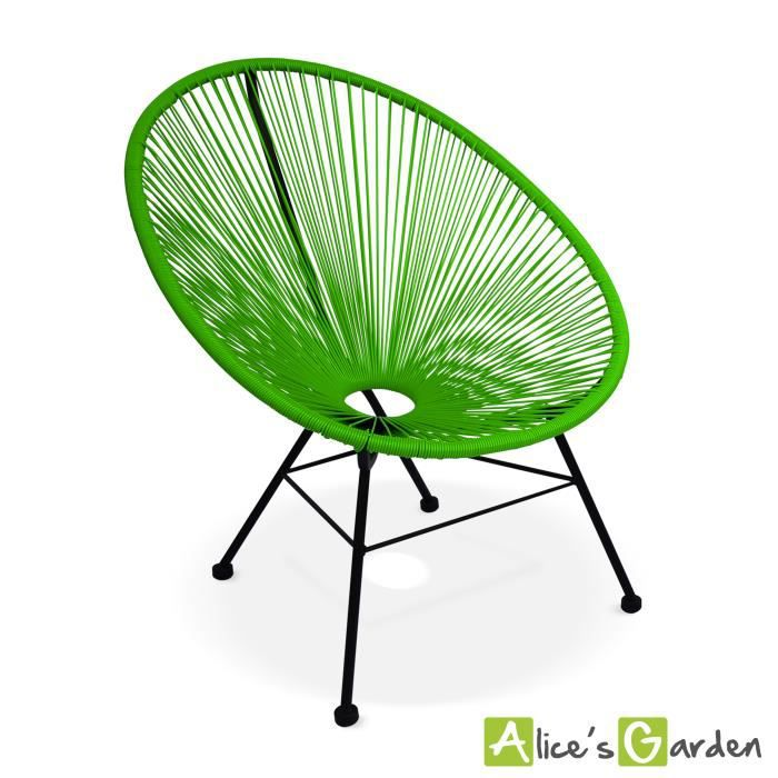 fauteuil acapulco chaise oeuf design r tro cordage vert achat vente fauteuil jardin. Black Bedroom Furniture Sets. Home Design Ideas