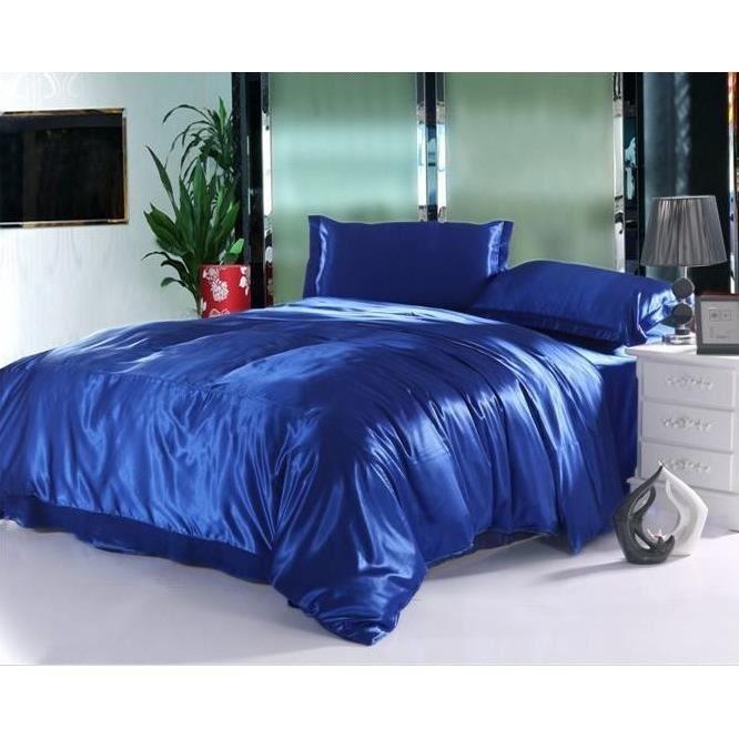 parure 2 personnes satin bleu achat vente parure de drap cdiscount. Black Bedroom Furniture Sets. Home Design Ideas