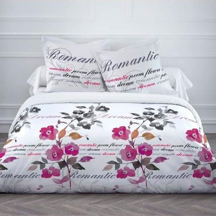 Housse de couette 220 x 240 cm taies romantic dream for Housse de couette teo jasmin soldes