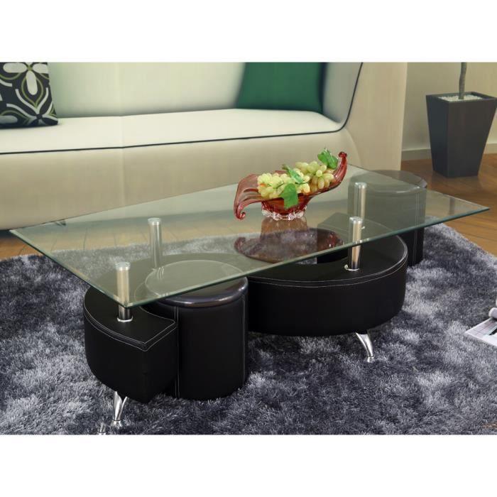 Table basse design en verre alicia noir structu achat vente table basse - Table basse noir verre ...