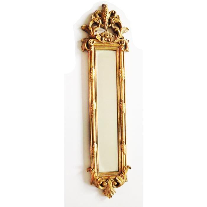 Miroir dore en longueur a motif vegetal 70x17 5x2 achat for Miroir en longueur