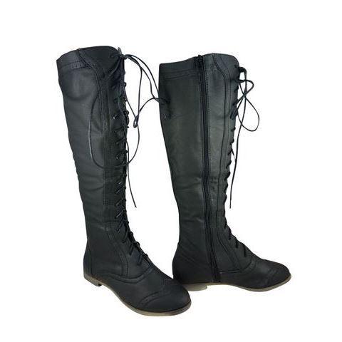 Bottes lacets plates noir achat vente bottes lacets plates noir noir - Chutes de cuir pas cher ...