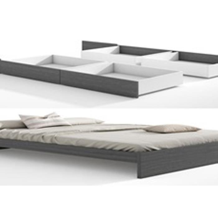 Set de cadre de lit tiroirs pour lit en cendre achat vente structure de - Cadre de lit cdiscount ...