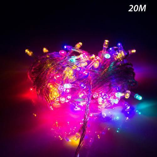 savfy 20m 200led multicouleur guirlande electrique lumineuse d exterieur soir e f te no l. Black Bedroom Furniture Sets. Home Design Ideas