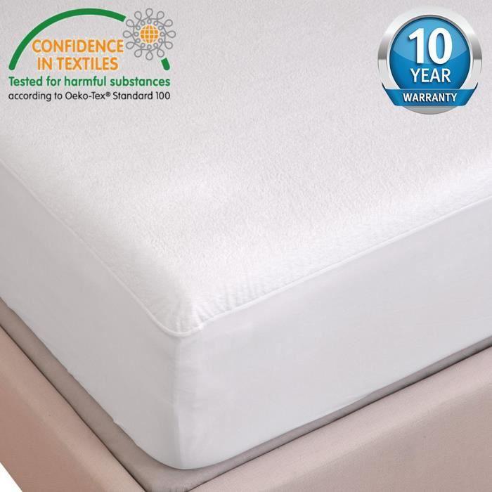 tofern prot ge matelas 180 x 190 200 flanelle 100 imperm able r sistant aux lavages blanc. Black Bedroom Furniture Sets. Home Design Ideas
