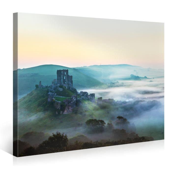 Tableau sur toile ruines 100x75cm achat vente for Tableau impression sur toile