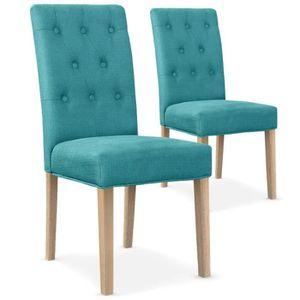 CHAISE Lot de 2 chaises Costel Tissu Bleu Turquoise