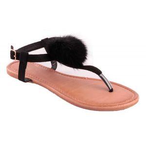 SANDALE - NU-PIEDS Sandales femme noir avec pompon fourrure synthétiq
